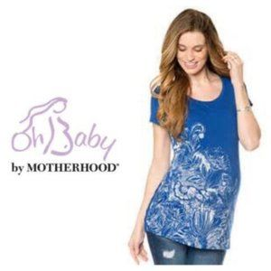 Oh baby by Motherhood Blue Maternity Top Sz S NWT